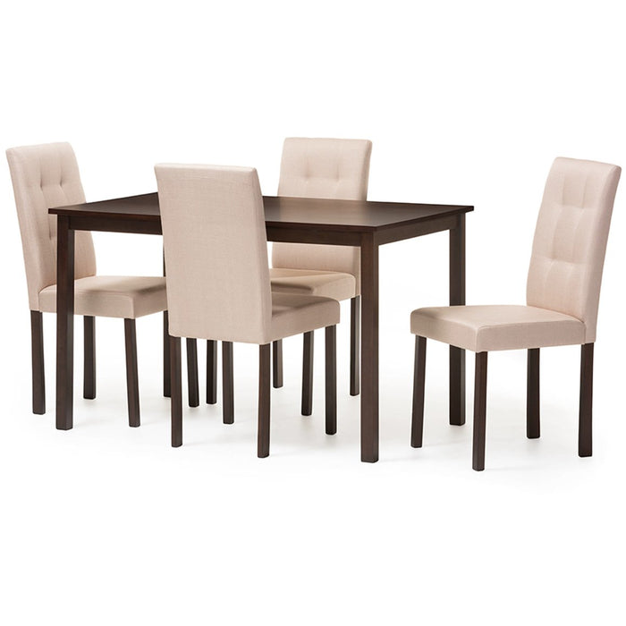 Baxton Studio Andrew Modern and Contemporary 5-Piece Beige Fabric Upholstered Grid-tufting Dining Set Baxton Studio--Minimal And Modern - 1