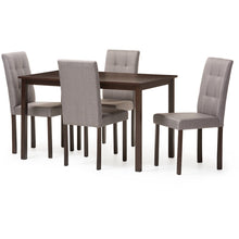 Baxton Studio Andrew Modern and Contemporary 5-Piece Grey Fabric Upholstered Grid-tufting Dining Set Baxton Studio--Minimal And Modern - 1