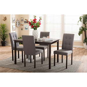 Baxton Studio Andrew Modern and Contemporary 5-Piece Grey Fabric Upholstered Grid-tufting Dining Set Baxton Studio--Minimal And Modern - 2