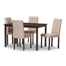 Baxton Studio Gardner Modern and Contemporary 5-Piece Dark Brown Finished Beige Fabric Upholstered Dining Set  Baxton Studio--Minimal And Modern - 2