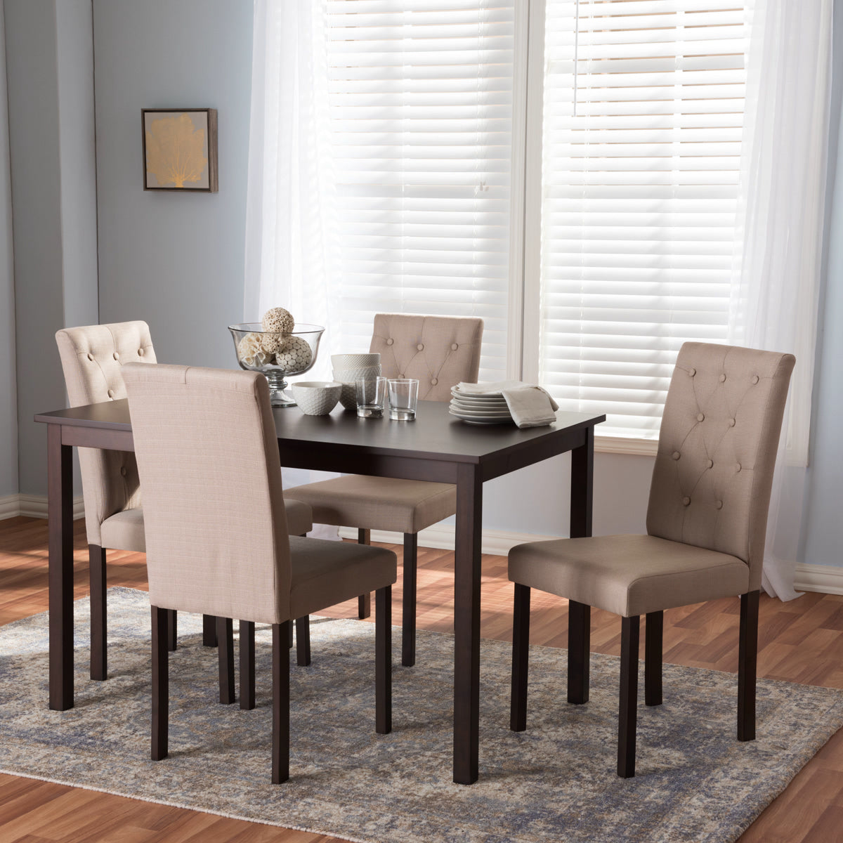 Baxton Studio Gardner Modern and Contemporary 5-Piece Dark Brown Finished Beige Fabric Upholstered Dining Set  Baxton Studio--Minimal And Modern - 1