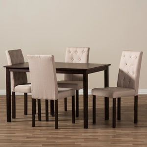 Baxton Studio Gardner Modern and Contemporary 5-Piece Dark Brown Finished Beige Fabric Upholstered Dining Set  Baxton Studio--Minimal And Modern - 4