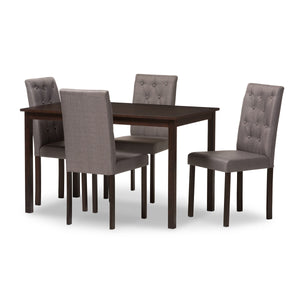 Baxton Studio Gardner Modern and Contemporary 5-Piece Dark Brown Finished Grey Fabric Upholstered Dining Set  Baxton Studio--Minimal And Modern - 2