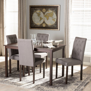Baxton Studio Gardner Modern and Contemporary 5-Piece Dark Brown Finished Grey Fabric Upholstered Dining Set  Baxton Studio--Minimal And Modern - 1