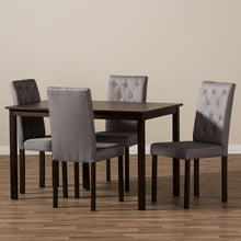 Baxton Studio Gardner Modern and Contemporary 5-Piece Dark Brown Finished Grey Fabric Upholstered Dining Set  Baxton Studio--Minimal And Modern - 4