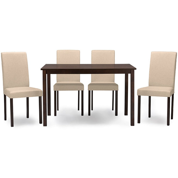 Baxton Studio Andrew Contemporary Espresso Wood Beige Fabric 5 PC Dining Set Baxton Studio--Minimal And Modern - 1