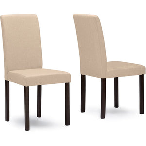 Baxton Studio Andrew Contemporary Espresso Wood Beige Fabric Dining Chair (Set of 2) Baxton Studio-dining chair-Minimal And Modern - 1