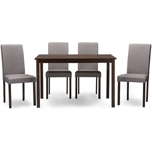Baxton Studio Andrew Contemporary Espresso Wood Grey Fabric 5PC Dining Set Baxton Studio--Minimal And Modern - 1
