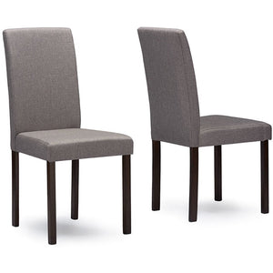 Baxton Studio Andrew Contemporary Espresso Wood Grey Fabric 5PC Dining Set Baxton Studio--Minimal And Modern - 2