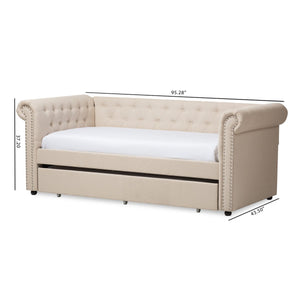 Baxton Studio Mabelle Modern and Contemporary Beige Fabric Trundle Daybed