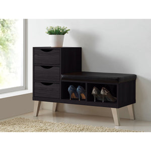Baxton Studio Arielle Modern and Contemporary Dark Brown Wood 3-drawer Shoe Storage Padded Leatherette Seating Bench with Two Open Shelves Baxton Studio-benches-Minimal And Modern - 4