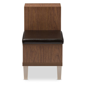 Baxton Studio Arielle Modern and Contemporary Walnut Brown Wood 3-Drawer Shoe Storage Padded Leatherette Seating Bench with Two Open Shelves Baxton Studio-benches-Minimal And Modern - 4