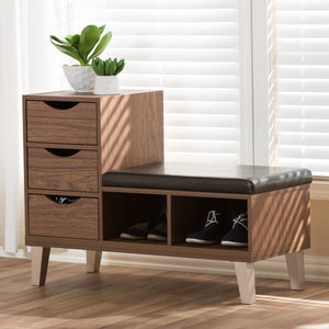 Baxton Studio Arielle Modern and Contemporary Walnut Brown Wood 3-Drawer Shoe Storage Padded Leatherette Seating Bench with Two Open Shelves Baxton Studio-benches-Minimal And Modern - 6