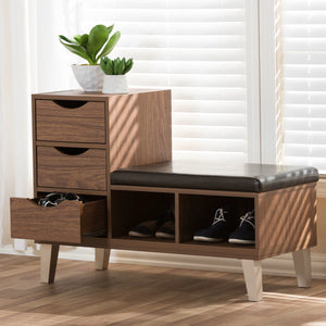 Baxton Studio Arielle Modern and Contemporary Walnut Brown Wood 3-Drawer Shoe Storage Padded Leatherette Seating Bench with Two Open Shelves Baxton Studio-benches-Minimal And Modern - 1