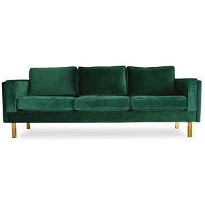 Edloe Finch Lexington Mid-Century Modern Velvet Sofa, Green Velvet
