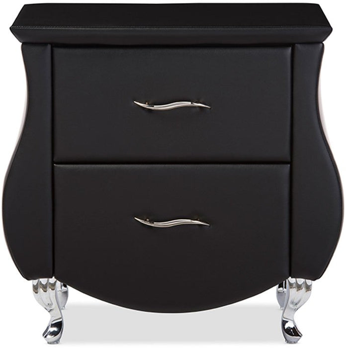 Baxton Studio Erin Modern and Contemporary Black Faux Leather Upholstered Nightstand Baxton Studio-nightstands-Minimal And Modern - 1