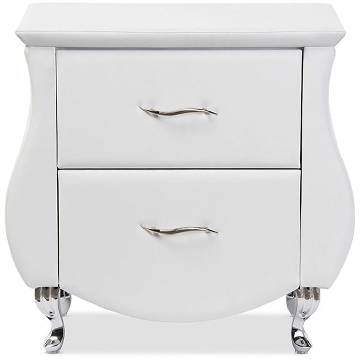 Baxton Studio Erin Modern and Contemporary White Faux Leather Upholstered Nightstand Baxton Studio-nightstands-Minimal And Modern - 1