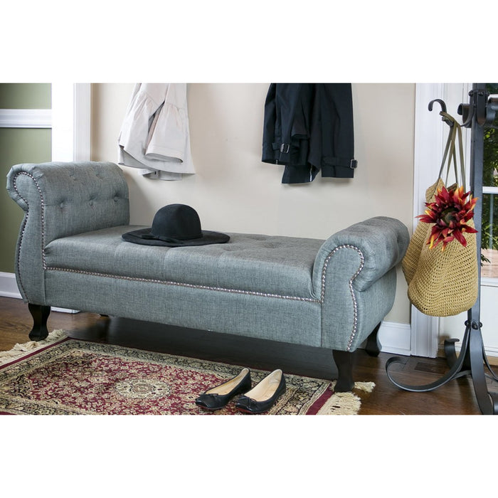 Baxton Studio Ipswich Grey Linen Bench Baxton Studio-benches-Minimal And Modern - 1