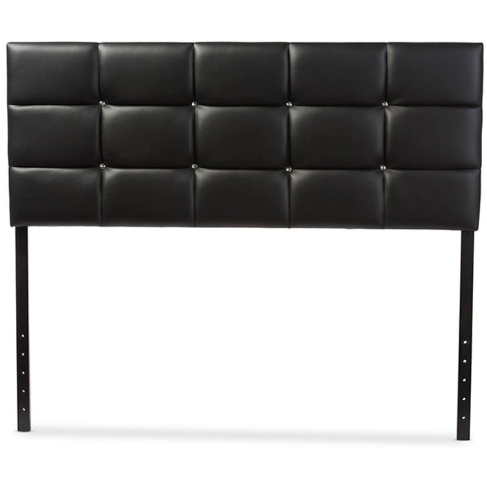 Baxton Studio Bordeaux Modern and Contemporary Black Faux Leather Queen Size Headboard Baxton Studio-Queen Headboard-Minimal And Modern - 1