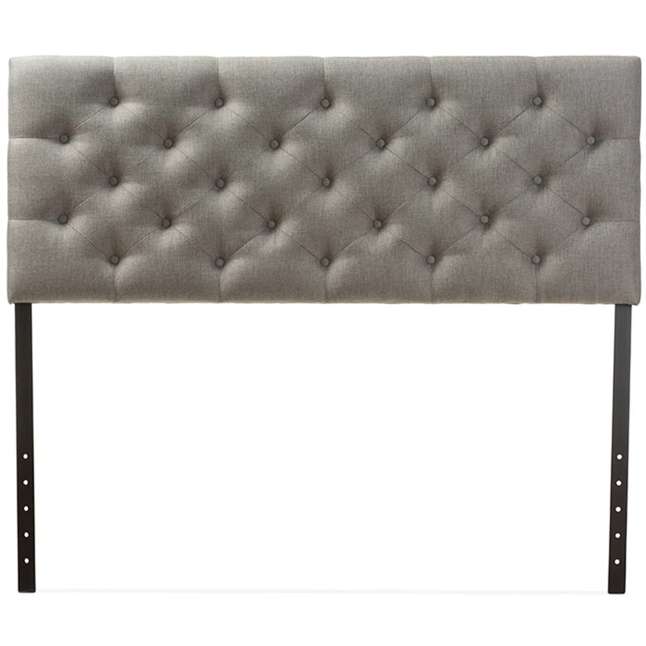 Baxton Studio Viviana Modern and Contemporary Grey Fabric Upholstered Button-tufted Queen Size Headboard Baxton Studio-Queen Headboard-Minimal And Modern - 1