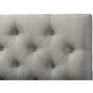 Baxton Studio Viviana Modern and Contemporary Grey Fabric Upholstered Button-tufted Queen Size Headboard Baxton Studio-Queen Headboard-Minimal And Modern - 3