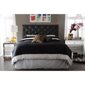 Baxton Studio Viviana Modern and Contemporary Black Faux Leather Upholstered Button-tufted Queen Size Headboard Baxton Studio-Queen Headboard-Minimal And Modern - 4