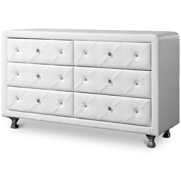 Baxton Studio Luminescence White Faux Leather Upholstered Dresser Baxton Studio-Dresser-Minimal And Modern - 1
