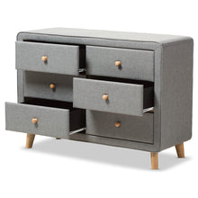 Baxton Studio Jonesy Mid-Century Grey Fabric Upholstered 6-Drawer Dresser Baxton Studio-Dresser-Minimal And Modern - 5