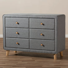 Baxton Studio Jonesy Mid-Century Grey Fabric Upholstered 6-Drawer Dresser Baxton Studio-Dresser-Minimal And Modern - 9