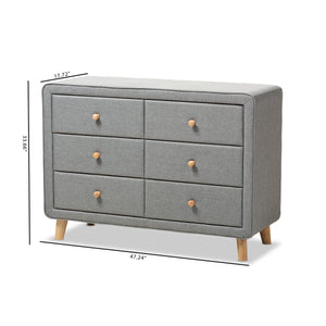Baxton Studio Jonesy Mid-Century Grey Fabric Upholstered 6-Drawer Dresser Baxton Studio-Dresser-Minimal And Modern - 10