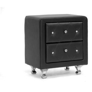 Baxton Studio Stella Crystal Tufted Black Upholstered Modern Nightstand Baxton Studio-nightstands-Minimal And Modern - 1