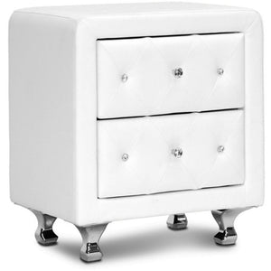 Baxton Studio Stella Crystal Tufted White Upholstered Modern Nightstand Baxton Studio-nightstands-Minimal And Modern - 1