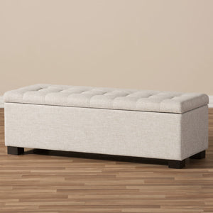 Baxton Studio Roanoke Modern and Contemporary Beige Fabric Upholstered Grid-Tufting Storage Ottoman Bench Baxton Studio-benches-Minimal And Modern - 10