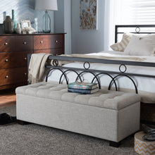 Baxton Studio Roanoke Modern and Contemporary Beige Fabric Upholstered Grid-Tufting Storage Ottoman Bench Baxton Studio-benches-Minimal And Modern - 1