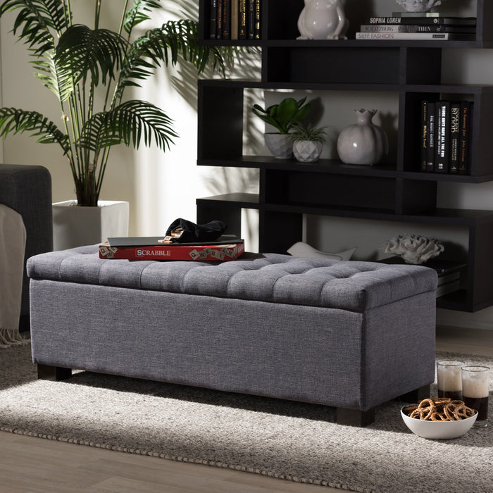 Baxton Studio Roanoke Modern and Contemporary Dark Grey Fabric Upholstered Grid-Tufting Storage Ottoman Bench Baxton Studio-benches-Minimal And Modern - 1