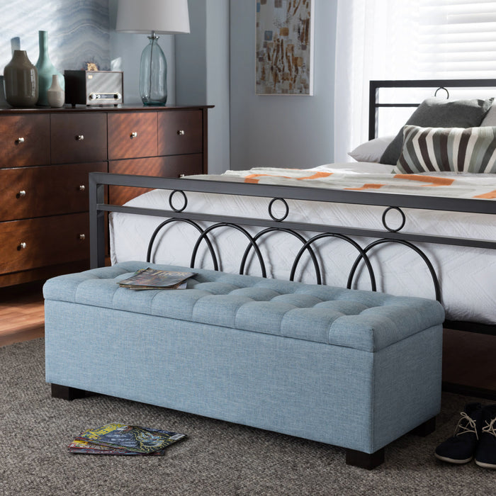 Baxton Studio Roanoke Modern and Contemporary Light Blue Fabric Upholstered Grid-Tufting Storage Ottoman Bench Baxton Studio-benches-Minimal And Modern - 1