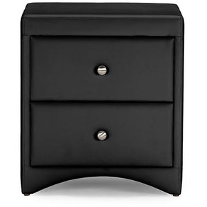 Baxton Studio Dorian Black Faux Leather Upholstered Modern Nightstand Baxton Studio-nightstands-Minimal And Modern - 1