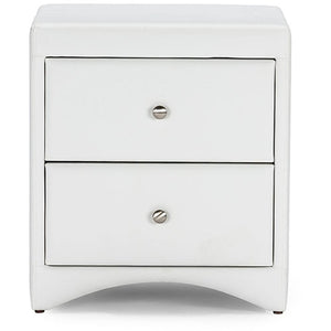 Baxton Studio Dorian White Faux Leather Upholstered Modern Nightstand Baxton Studio-nightstands-Minimal And Modern - 1