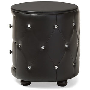 Baxton Studio Davina Hollywood Glamour Style Oval 2-drawer Black Faux Leather Upholstered Nightstand Baxton Studio-nightstands-Minimal And Modern - 4