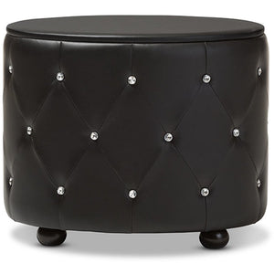 Baxton Studio Davina Hollywood Glamour Style Oval 2-drawer Black Faux Leather Upholstered Nightstand Baxton Studio-nightstands-Minimal And Modern - 5