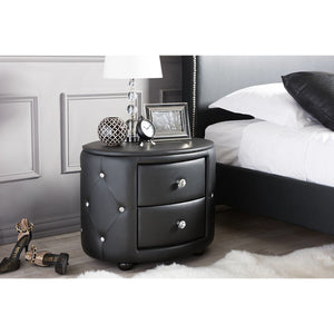 Baxton Studio Davina Hollywood Glamour Style Oval 2-drawer Black Faux Leather Upholstered Nightstand Baxton Studio-nightstands-Minimal And Modern - 6