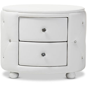 Baxton Studio Davina Hollywood Glamour Style Oval 2-drawer White Faux Leather Upholstered Nightstand Baxton Studio-nightstands-Minimal And Modern - 1