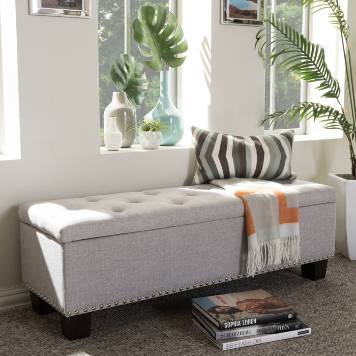 Baxton Studio Hannah Modern and Contemporary Grayish Beige Fabric Upholstered Button-Tufting Storage Ottoman Bench Baxton Studio-benches-Minimal And Modern - 1