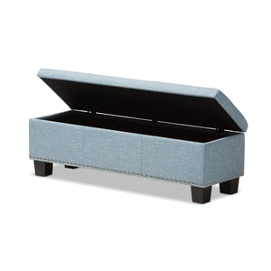 Baxton Studio Hannah Modern and Contemporary Light Blue Fabric Upholstered Button-Tufting Storage Ottoman Bench Baxton Studio-benches-Minimal And Modern - 3