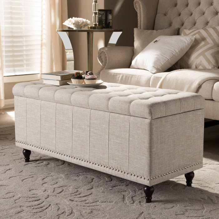 Baxton Studio Kaylee Modern Classic Beige Fabric Upholstered Button-Tufting Storage Ottoman Bench Baxton Studio-benches-Minimal And Modern - 1