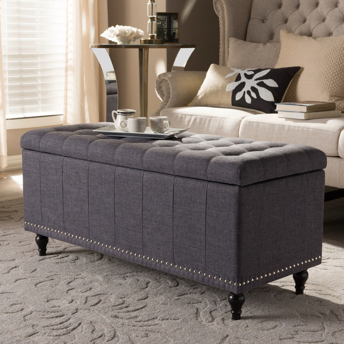 Baxton Studio Kaylee Modern Classic Dark Grey Fabric Upholstered Button-Tufting Storage Ottoman Bench Baxton Studio-benches-Minimal And Modern - 1