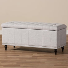 Baxton Studio Kaylee Modern Classic Grayish Beige Fabric Upholstered Button-Tufting Storage Ottoman Bench Baxton Studio-benches-Minimal And Modern - 10