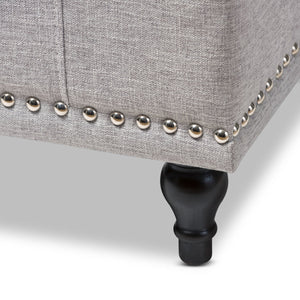 Baxton Studio Kaylee Modern Classic Grayish Beige Fabric Upholstered Button-Tufting Storage Ottoman Bench Baxton Studio-benches-Minimal And Modern - 8