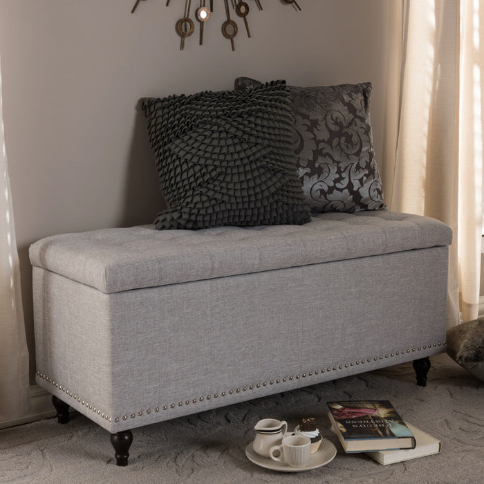 Baxton Studio Kaylee Modern Classic Grayish Beige Fabric Upholstered Button-Tufting Storage Ottoman Bench Baxton Studio-benches-Minimal And Modern - 1
