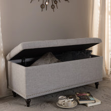 Baxton Studio Kaylee Modern Classic Grayish Beige Fabric Upholstered Button-Tufting Storage Ottoman Bench Baxton Studio-benches-Minimal And Modern - 9